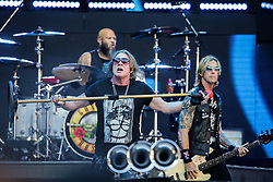 Guns N' Roses vocalist Axl Rose and bassist Duff McKagan perform live at stade Matmut as part of their world tour in Bordeaux, France, June 26, 2018. Photo by Thibaud Moritz/ABACAPRESS.COM
