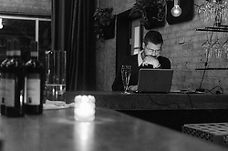 David Keck studies for the Court of Master Sommeliers exam in the corner of Camerata wine bar. (Editorial: Houston Press)