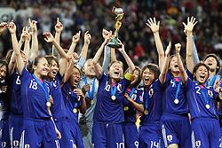 17-07-2011 VOETBAL: FIFA WOMENS WORLDCUP 2011 FINAL JAPAN - USA: FRANKFURT<br /> World Champion Japan with the Golden Cup<br /> ***NETHERLANDS ONLY***<br /> ©2011-FRH- NPH/Mueller