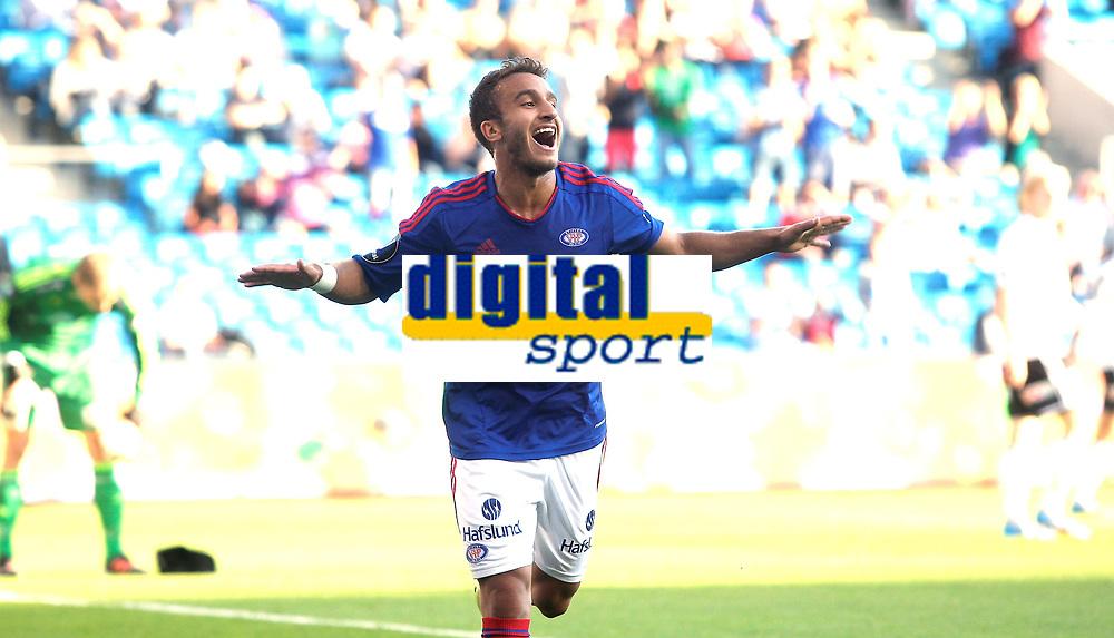 Fotball<br /> Tippeligaen<br /> Ullev&aring;l Stadion 10.08.12<br /> V&aring;lerenga VIF - Odd Grenland<br /> Mohamed Fellah feirer m&aring;l<br /> Foto: Eirik F&oslash;rde