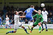 Gillingham forward Cody MacDonald (10) header scores  (1-0) during the EFL Sky Bet League 1 match between Gillingham and Oldham Athletic at the MEMS Priestfield Stadium, Gillingham, England on 8 October 2016. Photo by Martin Cole.