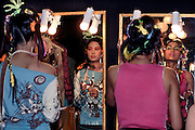Models prepare for the Abhishek Gupta and Nandita Basu show - India fashion week, Autumn - winter collections, New Delhi, April 2006