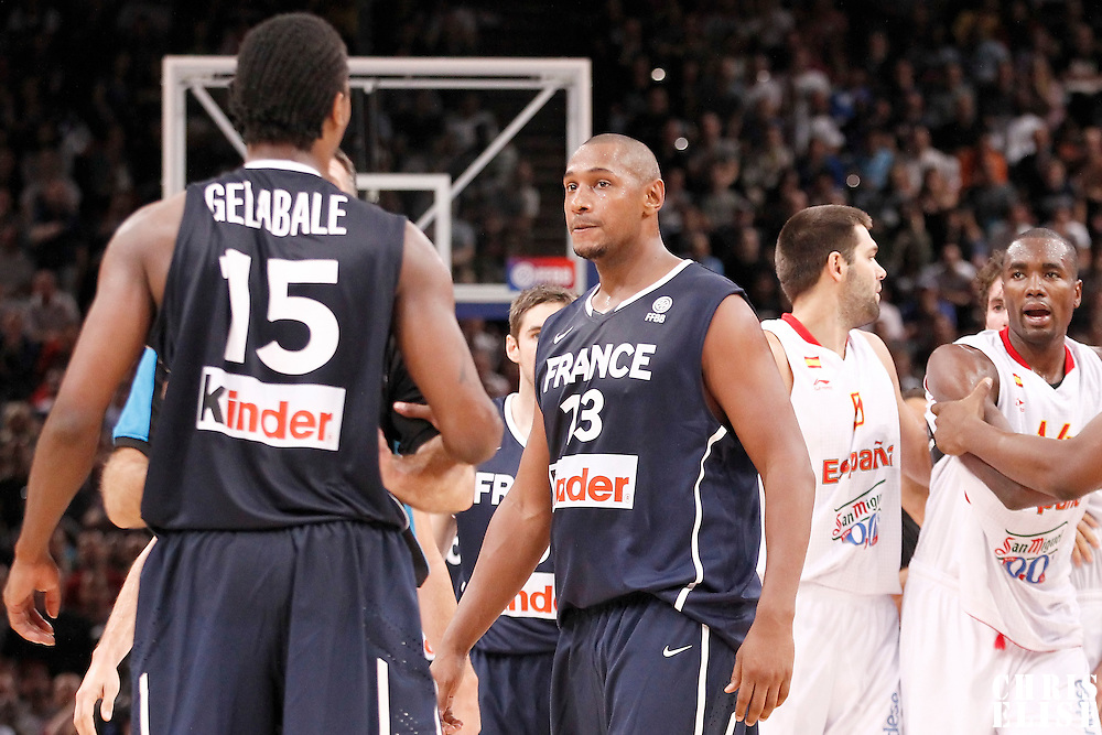 15 July 2012: Boris Diaw of Team France looks at Mickael Gelabale during a pre-Olympic exhibition game won 75-70 by Spain over France, at the Palais Omnisports de Paris Bercy, in Paris, France.