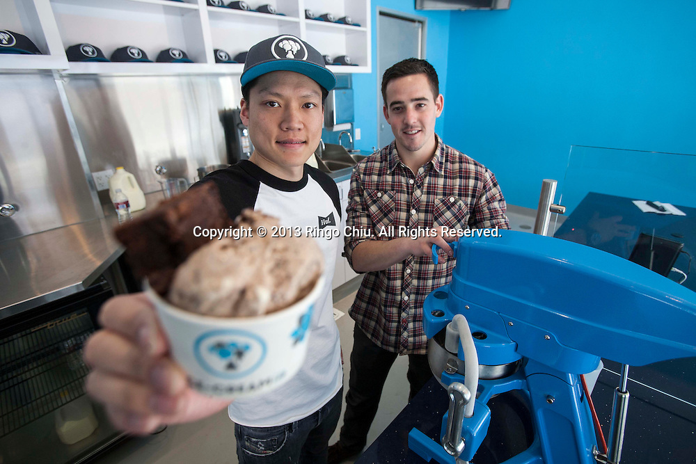 Tommy Ngan (L) and Joseph Lifschutz, co-owners of Ice Cream Lab in Beverly Hills. (Photo by Ringo Chiu/PHOTOFORMULA.com).