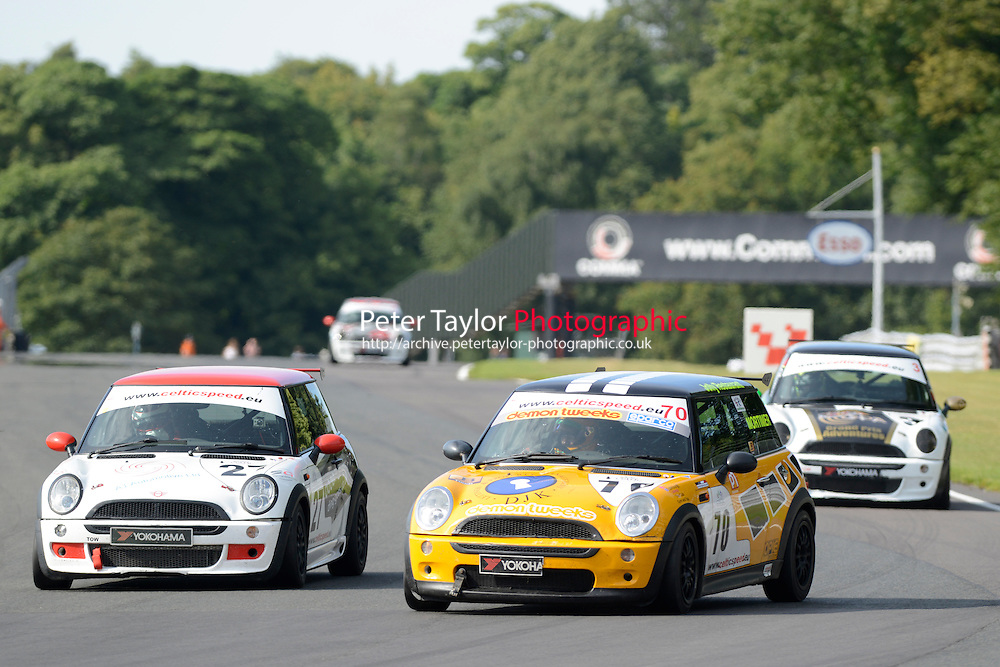 #70 Oliver Mortimer Mini Cooper during Celtic Speed Scottish Mini Cooper Cup Race 2 as part of the Mini Festival  at Oulton Park, Little Budworth, Cheshire, United Kingdom. August 08 2015. World Copyright Peter Taylor. Copy of publication required for printed pictures.  Every used picture is fee-liable. http://archive.petertaylor-photographic.co.uk