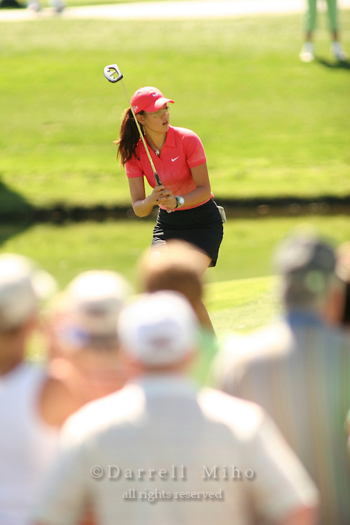 Apr. 2, 2006; Rancho Mirage, CA, USA; Michelle Wie watches her putt during the final round of the Kraft Nabisco Championship at Mission Hills Country Club. ..Mandatory Photo Credit: Darrell Miho.Copyright © 2006 Darrell Miho .