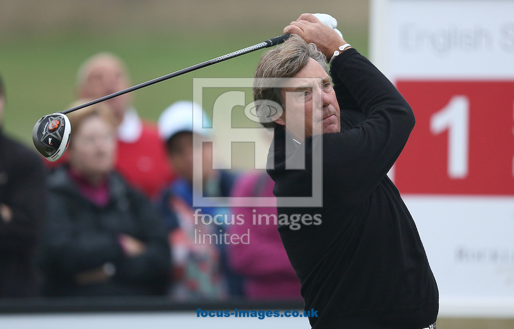 Picture by Paul Gaythorpe/Focus Images Ltd +447771 871632<br /> 04/10/2013<br /> Barry Lane on the 1st tee on Day 1 of the English Senior Open at Rockliffe Hall, Darlington.