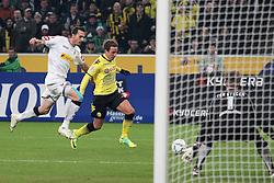 03.12.2011, BorussiaPark, Mönchengladbach, GER, 1.FBL, Borussia Mönchengladbach vs Borussia Dortmund, im BildMario Götze (Dortmund #11) (M) gegen Martin Stranzl (Mönchengladbach #39) und Marc-Andre ter Stegen (Torwart Moenchengladbach) (R) // during the 1.FBL, Borussia Mönchengladbach vs Borussia Dortmund on 2011/12/03, BorussiaPark, Mönchengladbach, Germany. EXPA Pictures © 2011, PhotoCredit: EXPA/ nph/ Mueller..***** ATTENTION - OUT OF GER, CRO *****
