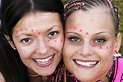 Eye tattoo make-up, Radio One Stage main field at Homelands Festival near Winchester, England, May 24 2003.