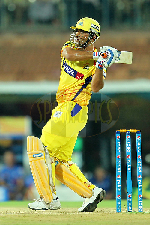 Mahendra Singh Dhoni captain of Chennai Super Kings during match 24 of the Pepsi IPL 2015 (Indian Premier League) between The Chennai Superkings and The Kings XI Punjab held at the M. A. Chidambaram Stadium, Chennai Stadium in Chennai, India on the 25th April 2015.Photo by:  Prashant Bhoot / SPORTZPICS / IPL