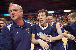 Magnolia players celebrate winning the Class A championship game at the Charleston Civic Center.