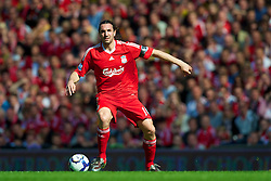 LIVERPOOL, ENGLAND - Sunday, April 11, 2010: Liverpool's Sotirios Kyrgiakos in action against Fulham during the Premiership match at Anfield. (Photo by: David Rawcliffe/Propaganda)