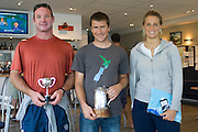 Andrew Brown (centre) with his trophy for winning the International Moth New Zealand championships, 2nd placed Kevin Hall (Left) and 3rd placed Sam England (right),  Auckland. 27/4/2008