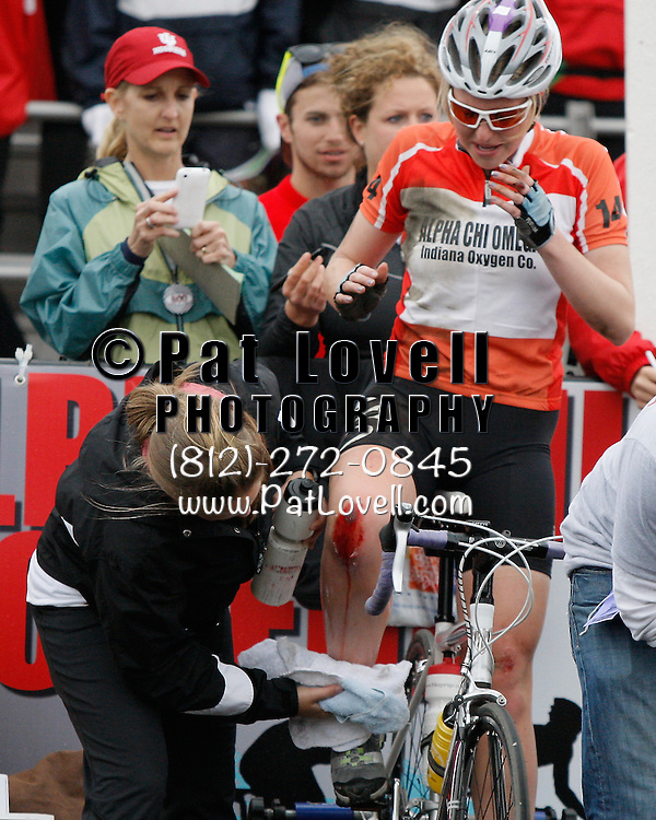 April 15, 2011:  A rider for Alpha Chi Omega after a crash during the Women's Little 500 bicycle race held at Armstrong Stadium on the campus of Indiana University in Bloomington, IN.