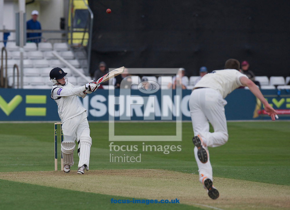 Picture by Alan Stanford/Focus Images Ltd +44 7915 056117.29/04/2013.Graham Napier of Essex County Cricket Club catches this shot from  Adam Wheater of Hampshire County Cricket Club during the LV County Championship Div Two match at the County Ground, Chelmsford, Chelmsford..