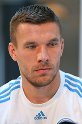 08.06.2015, Mercedes Benz Zenter, Koeln, GER, Nationalmannschaft, Pressekonferenz, im Bild Lukas Podolski (Inter Mailand) schaut nachdenklich auf den Boden // during a press conference of the german national football team at the Mercedes Benz Zenter in Koeln, Germany on 2015/06/08. EXPA Pictures © 2015, PhotoCredit: EXPA/ Eibner-Pressefoto/ Schüler<br /> <br /> *****ATTENTION - OUT of GER*****