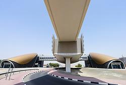 Modern metro railway station  in Dubai United Arab Emirates