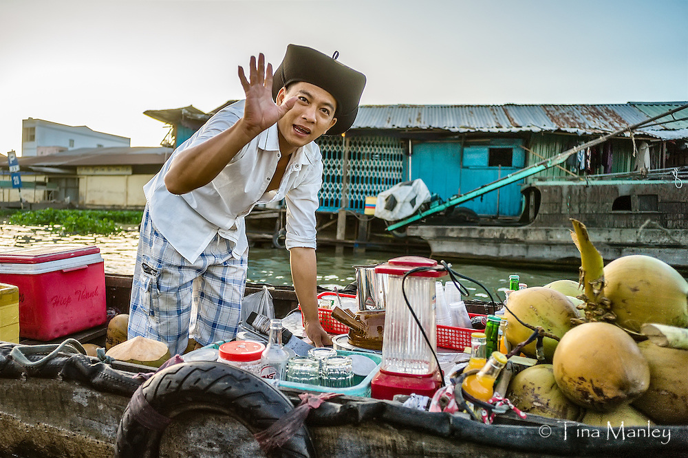 The floating market of Phong Dien on the Hua River in the Mekong Delta of Vietnam.
