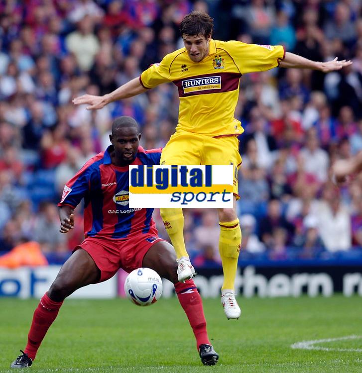 Photo: Daniel Hambury.<br />Crystal Palace v Burnley. Coca Cola Championship. 26/08/2006.<br />Palace's Leon Court and Burnley's Michael Duff battle.
