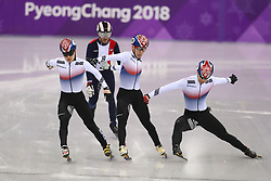 Korea Republic's Seo Yi-ra (left) wins the Short Track Speed Skating - Men's 1,000m Quarterfinal 1 ahead of Lim Hyo-jun (centre) in second and Hwang Dae-heon (right), who is later given a penalty, at the Gangneung Oval during day eight of the PyeongChang 2018 Winter Olympic Games in South Korea.