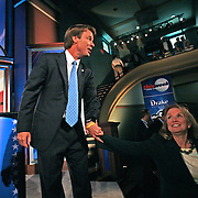 Senator John Edwards shares a happy moment with wife Elizabeth during a break at last year's (2007) Democratic Presidential Debate at Drake University in Des Moines, Iowa.  The debate took place in August.  Edwards says that his affair with former staff member Rielle Hunter was over by that time.