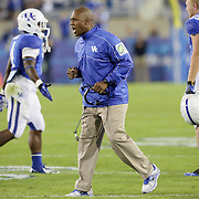 September 29, 2012 - Lexington, Kentucky, USA - UK head coach Joker Phillips celebrates after his team scored in the first half as the University of Kentucky plays South Carolina at Commonwealth Stadium. South Carolina won the game 38-17. (Credit Image: © David Stephenson/ZUMA Press).