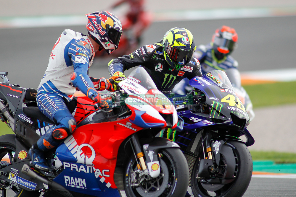 November 17, 2019, Cheste, VALENCIA, SPAIN: Valentino Rossi, rider of Monster Energy Yamaha MotoGP from Italy, saludates to Jack Miller, rider of Pramac Racing from Australia, after the MotoGP Race of the Valencia Grand Prix of MotoGP World Championship celebrated at Circuit Ricardo Tormo on November 16, 2019, in Cheste, Spain. (Credit Image: © AFP7 via ZUMA Wire)