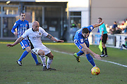 Brad Walker of Hartlepool United and David Pipe of Newport County during the EFL Sky Bet League 2 match between Newport County and Hartlepool United at Rodney Parade, Newport, Wales on 28 January 2017. Photo by Andrew Lewis.