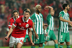 February 3, 2018 - Lisbon, Portugal - Benfica's Portuguese defender Ruben Dias celebrates after scoring a goal during the Portuguese League football match SL Benfica vs Rio Ave FC at the Luz stadium in Lisbon on February 3, 2018. Photo: Pedro Fiuza (Credit Image: © Pedro Fiuza via ZUMA Wire)
