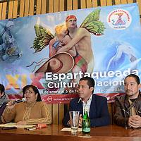 Toluca, México (Enero 17, 2017).- Laura Castillo García, vocera del Movimiento Antorchista del Estado de México, dio los pormenores de la XIX edición de la Espartaqueada Cultural Nacional, que se llevará a cabo del 28 de enero al 5 de febrero, en Tecomatlán, Puebla. Agencia MVT / Arturo Hernández.
