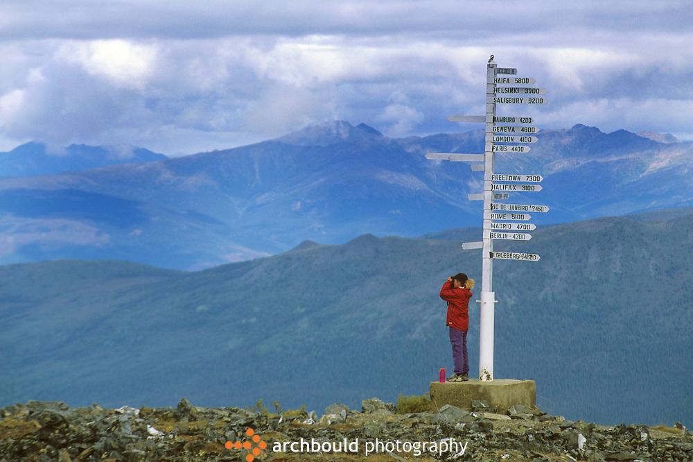 Woman looking off Keno Hill, Yukon