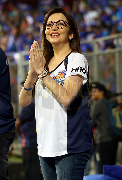 Nita Ambani owner of Mumbai Indians during match 7 of the Vivo 2017 Indian Premier League between the Mumbai Indians and the Kolkata Knight Riders held at the Wankhede Stadium in Mumbai, India on the 9th April 2017<br /> <br /> Photo by Sandeep Shetty - IPL - Sportzpics