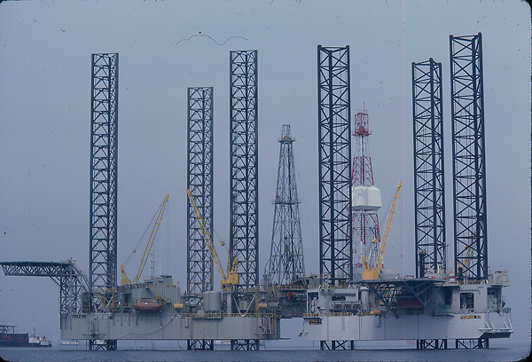 Stock photo of jack-up offshore drilling rigs.