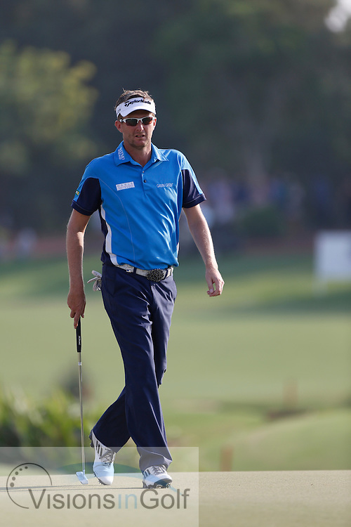 David Lynn<br /> during the second round of the Race To Dubai DP World Tour Golf Championship, Dubai, UAE November  2013<br /> Picture Credit:  Mark Newcombe / www.visionsingolf.com