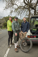 "Limo driver Marcus Rostad, pilot Trey Sheehe and Contractor Eric Striedieck discuss the finer points of mountain biking in Calistoga.  ""The harder we work the more freedom we find."""