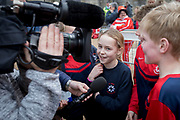 UNITED KINGDOM, Winchester: 05 March 2019 Winchester Pancake Race Photo Feature:<br /> Members belonging to St Bede Church of England School enjoy being interviewed after winning the Inaugural Winchester Pancake Race earlier this afternoon on Shrove Tuesday. The race, which consisted of 20 teams, took place in the gardens surrounding Winchester Cathedral. <br /> Rick Findler / Story Picture Agency