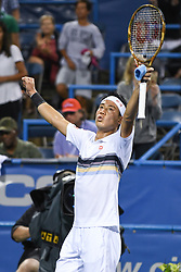 August 2, 2018 - Washington, D.C, U.S - KEI NISHIKORI reacts after winning his 3rd round match at the Citi Open at the Rock Creek Park Tennis Center in Washington, D.C. (Credit Image: © Kyle Gustafson via ZUMA Wire)