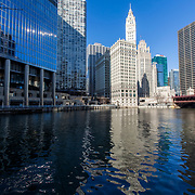 Chicago River, Riverwalk and Wrigley Building