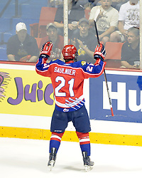 Alex Saulnier of the Moncton Wildcats in Game 2 of the 2010 MasterCard Memorial Cup in Brandon, MB on Saturday May 15, 2010. Photo by Aaron Bell/CHL Images