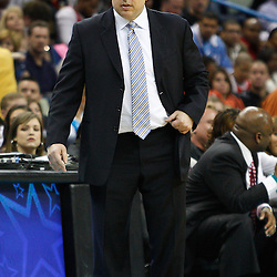 February 12, 2011; New Orleans, LA, USA; Chicago Bulls head coach Tom Thibodeau against the New Orleans Hornets during the second quarter at the New Orleans Arena.   Mandatory Credit: Derick E. Hingle