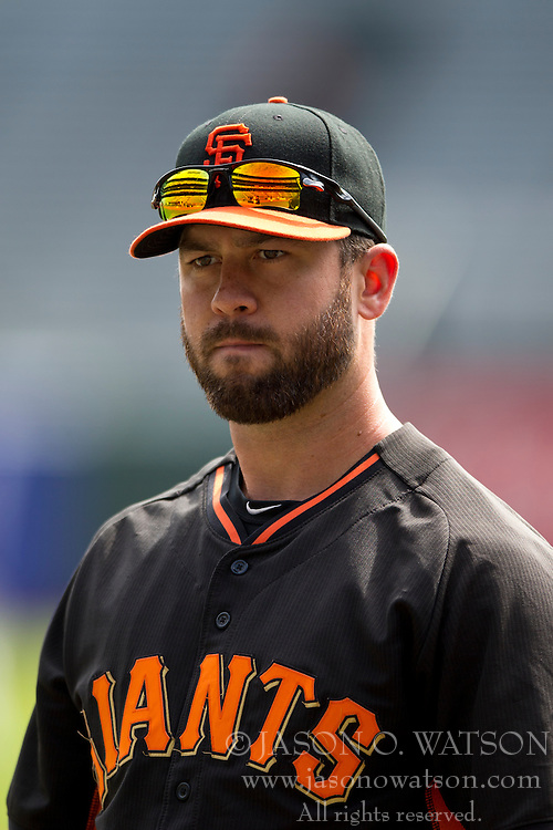 SAN FRANCISCO, CA - APRIL 26:  Brandon Hicks #14 of the San Francisco Giants looks on during batting practice before the game against the Cleveland Indians at AT&T Park on April 26, 2014 in San Francisco, California. The San Francisco Giants defeated the Cleveland Indians 5-3.  (Photo by Jason O. Watson/Getty Images) *** Local Caption *** Brandon Hicks