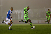 Forest Green Rovers Shamir Mullings(18) shoots at goal misses the target during the Vanarama National League match between Forest Green Rovers and Dover Athletic at the New Lawn, Forest Green, United Kingdom on 17 December 2016. Photo by Shane Healey.
