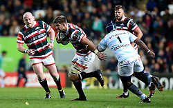 Mike Fitzgerald of Leicester Tigers goes past Eddy Ben Arous of Racing 92 - Mandatory by-line: Robbie Stephenson/JMP - 23/10/2016 - RUGBY - Welford Road Stadium - Leicester, England - Leicester Tigers v Racing 92 - European Champions Cup