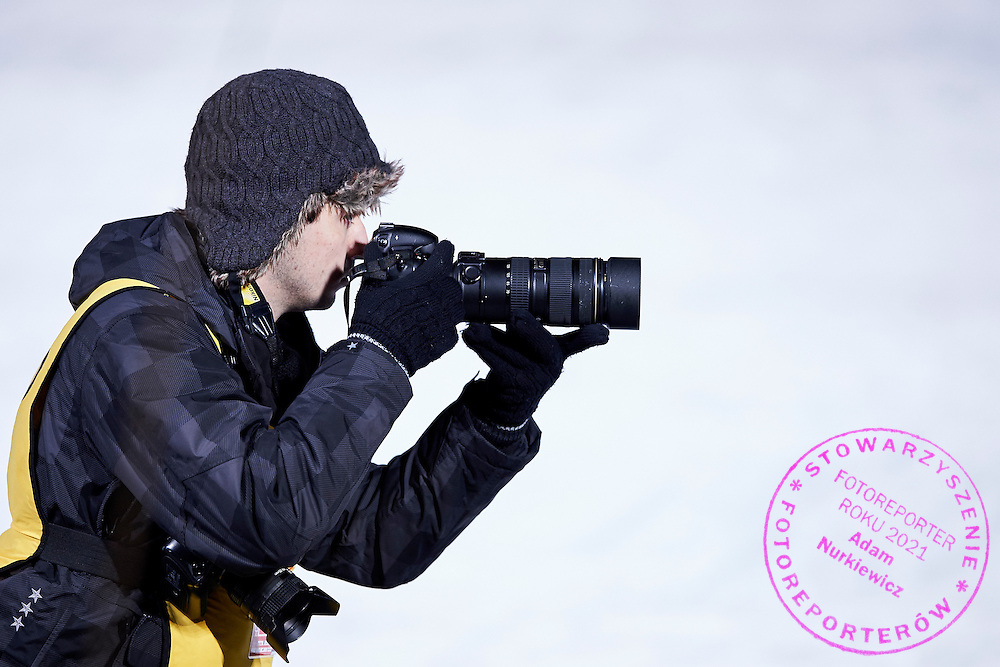 Photographer Rafal Oleksiewicz (Pressfocus Agency) shoots pictures  during FIS World Cup Ski Jumping competition in Zakopane, Poland on January 17, 2015.<br /> <br /> Poland, Zakopane, January 17, 2015.<br /> <br /> Picture also available in RAW (NEF) or TIFF format on special request.<br /> <br /> For editorial use only. Any commercial or promotional use requires permission.<br /> <br /> Mandatory credit:<br /> Photo by &copy; Adam Nurkiewicz / Mediasport
