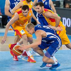 Sasu Salin #9 of Finland during basketball match between national team of Spain and Finland of Eurobasket 2013 on September 14, 2013 in SRC Stozice, Ljubljana, Slovenia. (Photo By Matic Klansek Velej / Sportida.com)