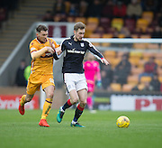 Dundee's Kevin Holt and Motherwell's Craig Clay - Motherwell v Dundee in the Ladbrokes Scottish Premiership at Fir Park, Motherwell.Photo: David Young<br /> <br />  - © David Young - www.davidyoungphoto.co.uk - email: davidyoungphoto@gmail.com