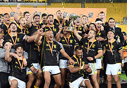 Wellington celebrate their win over Bay of Plenty in the Mitre 10 Rugby Final  Championship match at Westpac Stadium, Wellington, New Zealand, Friday, October 27, 2017. Credit:SNPA / Ross Setford  **NO ARCHIVING**