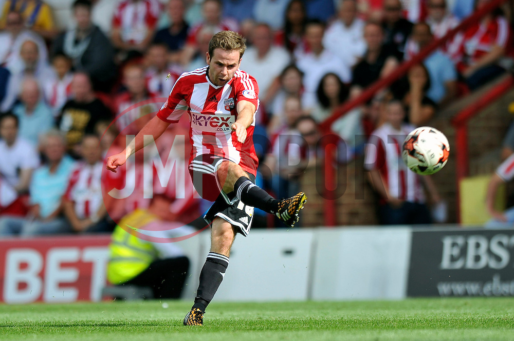 Brentford's Alan Judge kicks the ball - Photo mandatory by-line: Patrick Khachfe/JMP - Mobile: 07966 386802 09/08/2014 - SPORT - FOOTBALL - Brentford - Griffin Park - Brentford v Charlton Athletic - Sky Bet Championship - First game of the season