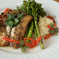 Wrightsville Beach Brewery -<br /> <br /> Local red drum -<br /> <br /> pan roasted red drum, grilled broccolini, creamed risotto, bacon jam, roasted red peppers, micro shiso and pea tendrils