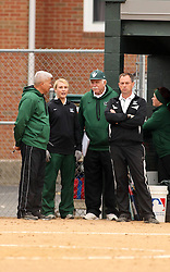 30 March 2013:  Titan coaches Graham Arnold, Tiffany Prager, Lyle Day and Steve King during an NCAA Division III women's softball game between the DePauw Tigers and the Illinois Wesleyan Titans in Bloomington IL